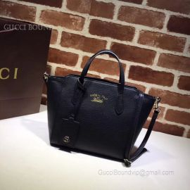 Gucci Swing Mini Leather Top Handle Bag Black 368827
