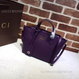 Gucci Swing Mini Leather Top Handle Bag Purple 368827