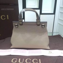 Gucci Bamboo Daily Leather Top Handle Bag Gray 370831