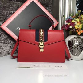 Gucci Sylvie Medium Top Handle Bag Red 431665