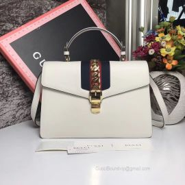 Gucci Sylvie Medium Top Handle Bag White 431665