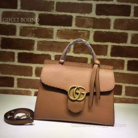 Gucci GG Marmont Leather Top Handle Mini Bag Light Brown 442622