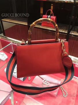 Gucci Nymphea Leather Small Bamboo Top Handle Bag Red 459076