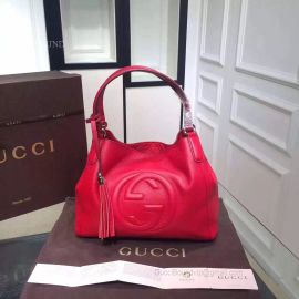 Gucci Soho Leather Hobo Bag Red 282308
