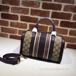 Gucci Vintage Web Original GG Boston Bag Brown And Black 269876