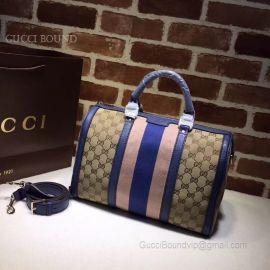 Gucci Vintage Web Original GG Boston Bag Dark Blue And Pink 247205
