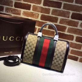 Gucci Vintage Web Original GG Boston Bag Green And Red 247205