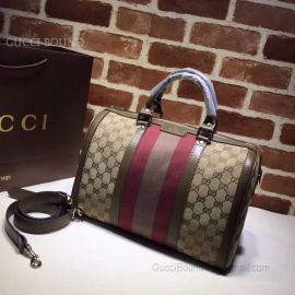 Gucci Vintage Web Original GG Boston Bag Brown And Red 247205