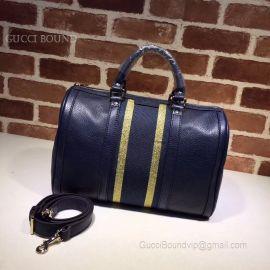 Gucci Vintage Web Original GG Boston Bag Dark Blue And Yellow 247205