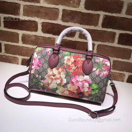 Gucci Tian GG Supreme Boston Bag Blooming Flowers 409529