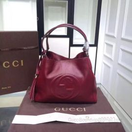 Gucci Soho Leather Tote Wine 282309