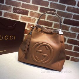 Gucci Soho Leather Tote Khaki 282309