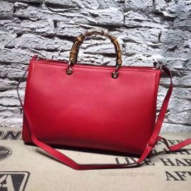 Gucci Large Bamboo Shopper Leather Tote Bag Red 323658