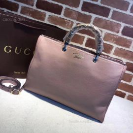 Gucci Large Bamboo Shopper Leather Tote Bag Nude 323658