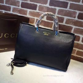 Gucci Large Bamboo Shopper Leather Tote Bag Black 323658