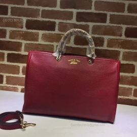 Gucci Large Bamboo Shopper Leather Tote Bag Dark Red 323658