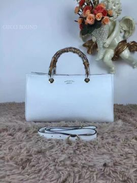 Gucci Large Bamboo Shopper Leather Tote Bag White 323658