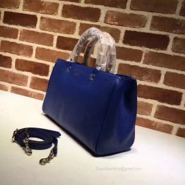 Gucci Large Bamboo Shopper Leather Tote Bag Dark Blue 323658