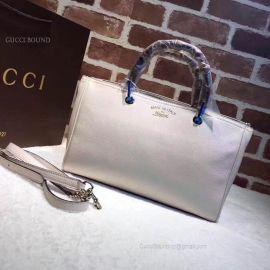 Gucci Large Bamboo Shopper Leather Tote Bag Pearl 323658