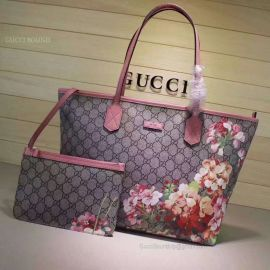Gucci Blooms GG Supreme Shopping Bag Red 405020