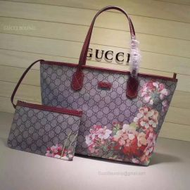 Gucci Blooms GG Supreme Shopping Bag Dark Red 405020