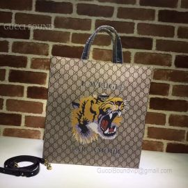Gucci Pattern Print Soft GG Supreme Tote Tiger 450950