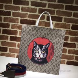 Gucci Pattern Print Soft GG Supreme Tote Red Cat 450950
