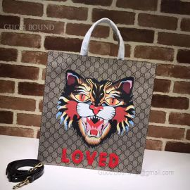 Gucci Pattern Print Soft GG Supreme Tote Loved Tiger 450950