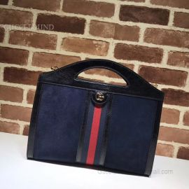 Gucci Ophidia Medium Top Handle Tote Dark Blue 512957