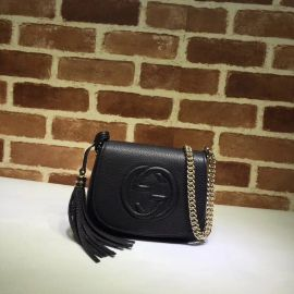 Gucci Soho Leather Chain Shoulder Bag Black 323190