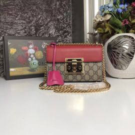Gucci Padlock Small GG Shoulder Bag Rose Red 409487