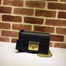 Gucci Padlock Small Gucci Signature Shoulder Bag Black 409487