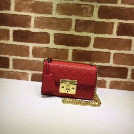 Gucci Padlock Small Gucci Signature Shoulder Bag Red 409487