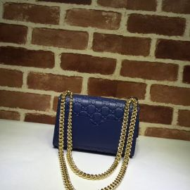 Gucci Padlock Small Gucci Signature Shoulder Bag Blue 409487