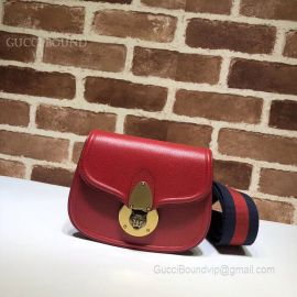 Gucci Leather Tiger Guccitotem Small Shoulder Bag Red 495663