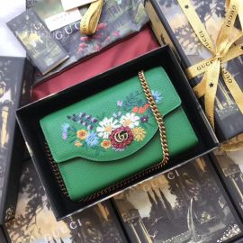 Gucci Embroidered Leather Mini Shoulder Bag Green 499314