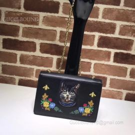 Gucci Embroidered Small Shoulder Bag Black 499617