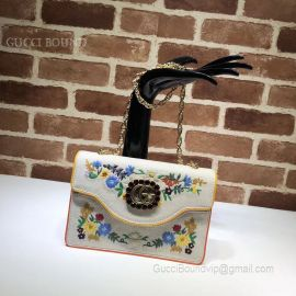 Gucci Embroidered Small Shoulder Bag White 499617