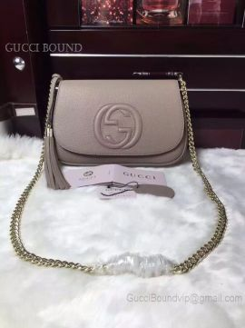 Gucci Soho Leather Chain Shoulder Bag Gray 336752
