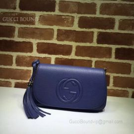 Gucci Soho Leather Chain Shoulder Bag Dark Blue 336752