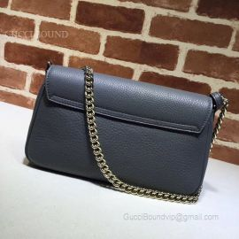 Gucci Soho Leather Chain Shoulder Bag Bluish Grey 336752