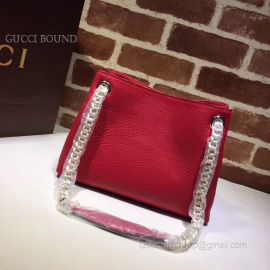 Gucci Soho Tassels 2Way Chain Strap Leather Shoulder Bag Red 387043