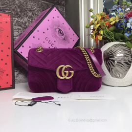 Gucci GG Marmont Small Velvet Shoulder Purple Bag 443497