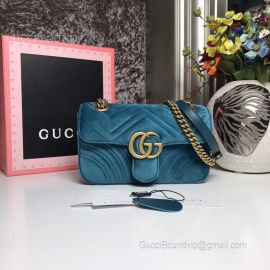 Gucci GG Marmont Mini Velvet Shoulder Bag Blue 446744