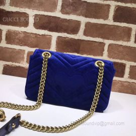 Gucci GG Marmont Mini Velvet Shoulder Bag Dark Blue 443497