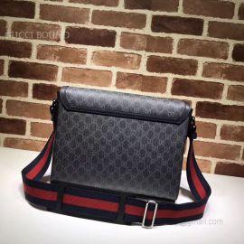 Gucci GG Supreme Flap Messenger Bag Gray 474138
