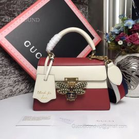 Gucci Queen Margaret Small Shoulder Bag Red And White 476541