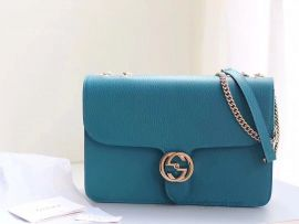 Gucci Marmont New Largeleather Shoulder Bag Cyan 510303
