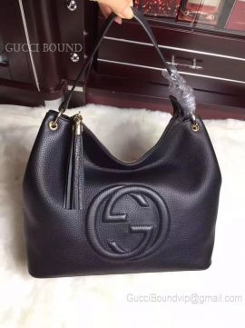 Gucci Women Tassels Soho Hobo Leather Shoulder Bag Black 408825