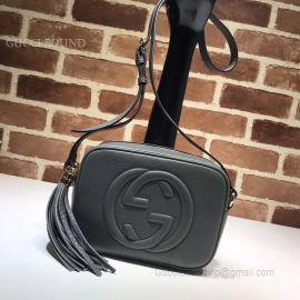 Gucci Soho Small Leather Disco Bag Dark Grey 308364